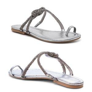 Jessica Simpson Charcoal Gray Rhinestone Sandal